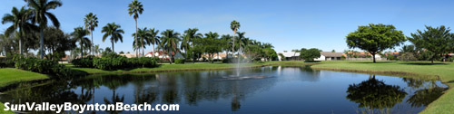 Sun Valley in Boynton Beach, FL offers a tranquil, tropical setting with some very nice lake views.