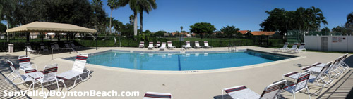 This pool area at Boynton Beach's Sun Valley community is a favorite spot for resident's weekend relaxation.